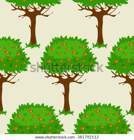 Seamless pattern with cartoon green fruit trees in summer or autumn, vector image - stock vector