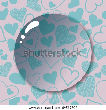 seamless pattern with cartoon heart and lens - stock vector