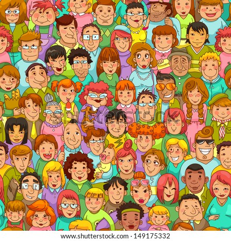 seamless pattern with cartoon people - stock vector