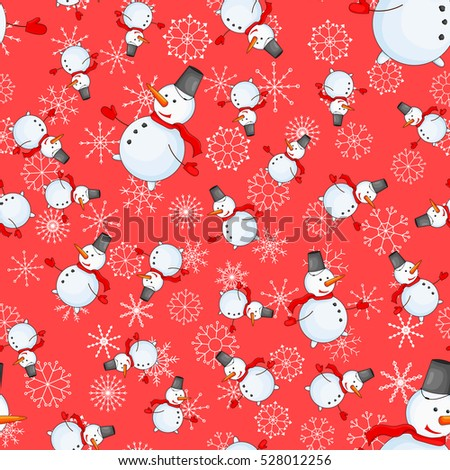 Seamless pattern with cartoon snowman in vector.