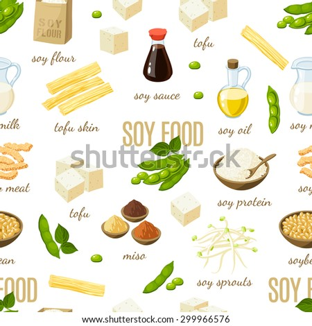 Seamless pattern with cartoon soy food. Vector illustration, eps10. - stock vector