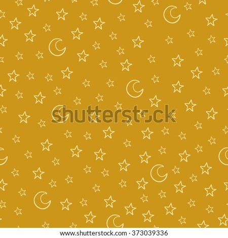 Seamless pattern with cartoon stars and moon on yellow background. Can be used for wallpaper, pattern fills, greeting cards, webpage backgrounds, wrapping paper or fabric. Vector illustration. EPS 10. - stock vector