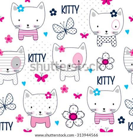 seamless pattern with cat and butterfly vector illustration - stock vector
