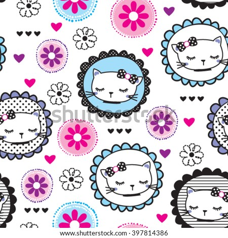 seamless pattern with cats and flowers on white background vector illustration - stock vector
