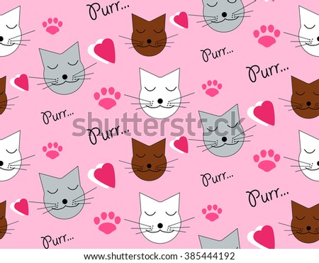 Seamless pattern with cats and hearts - stock vector