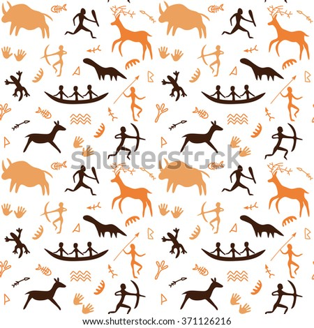 Seamless Pattern with Cave drawings theme, vector illustration, can be used for wallpaper, web page background, greeting cards, fabric print - stock vector