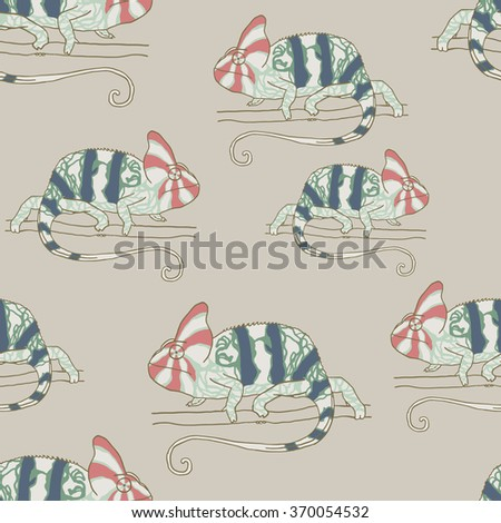 Seamless pattern with chameleon. Vector illustration of reptile - stock vector