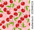 Seamless pattern with cherry and flowers in vector format - stock vector