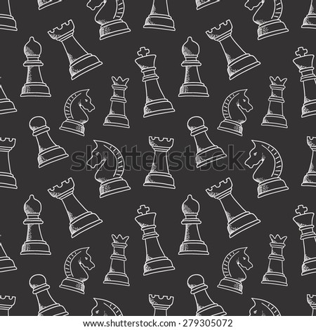 Seamless pattern with chess piece. For your design, textile, fabric, surface textures, packaging, scrapbooking, chess school or chess club. King, queen, pawn, bishop, knight and rook. - stock vector