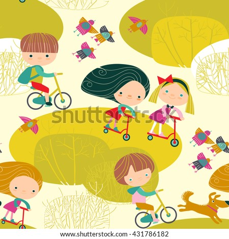 seamless pattern with children - stock vector