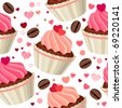 Seamless pattern with chocolates and red hearts - stock vector