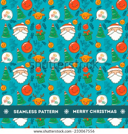 Seamless pattern with christmas characters - stock vector