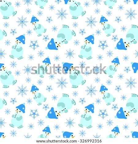 Seamless pattern with Christmas elements. Skating Snowman in blue hat and snowflakes on a white background. - stock vector