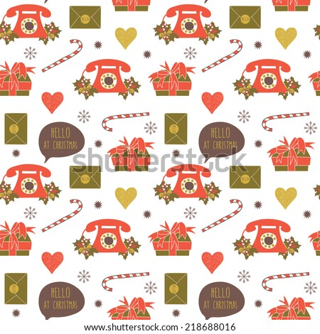 Seamless pattern with christmas elements. Used for wallpaper, pattern fills, web page background,surface textures. - stock vector