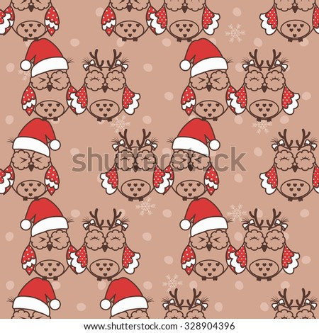 Seamless pattern with Christmas owls on beige background - stock vector