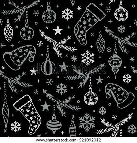 seamless pattern with Christmas tree decorations