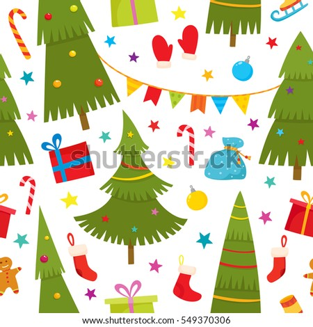Seamless pattern with christmas tree, gifts, socks, stars in cartoon style, vector illustration on white. Green fir trees with balls and garlands used for magazine, book, poster, card, web pages.