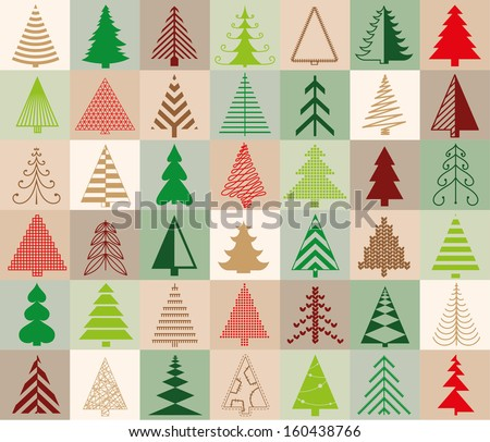seamless pattern with 42 Christmas trees - stock vector