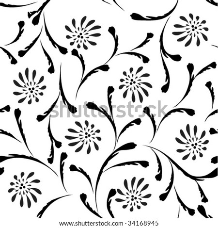 seamless pattern with chrysanthemum - stock vector