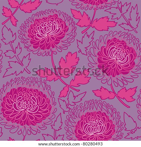 Seamless Pattern With chrysanthemums .