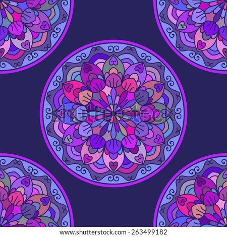 Seamless Pattern With Circle Ethnic Ornament. Abstract Background For Design - stock vector