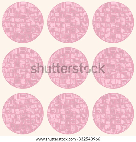 Seamless pattern with circles and hand drawn line pattern, vector illustration - stock vector