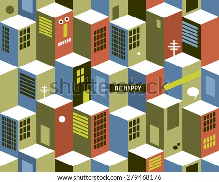 Seamless pattern with city buildings. Vector cityscape in vintage colors. - stock vector