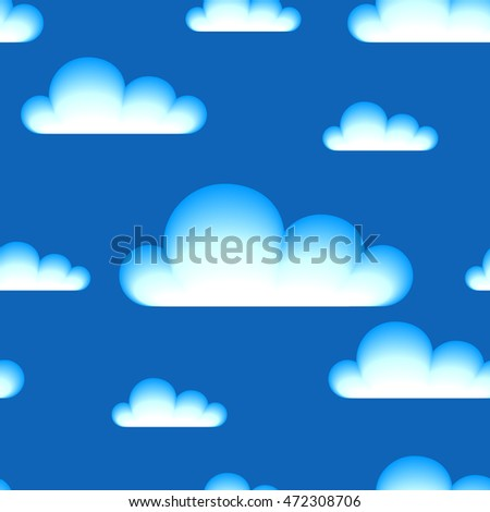 Seamless pattern with clouds on blue background