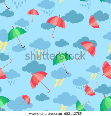 Seamless Pattern Clouds Rain Umbrella Wallpaper 682112785