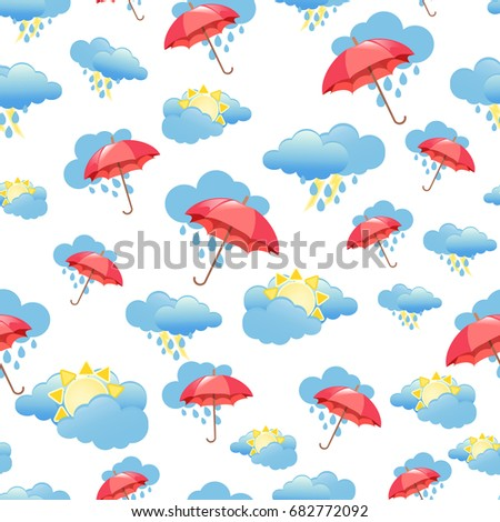 Seamless Pattern With Clouds Rain And Umbrella Wallpaper For Children Room Weather Background
