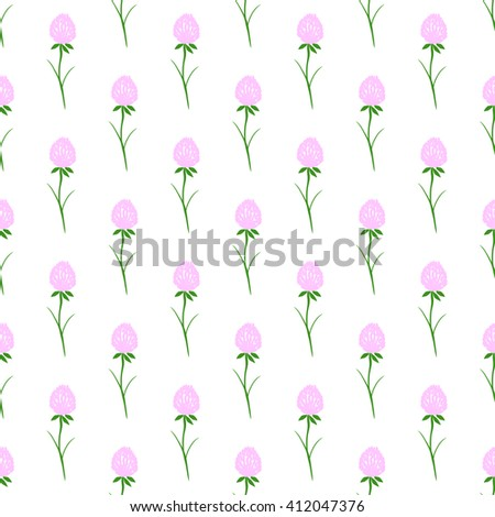 Seamless pattern with clover flower. Vector illustration. - stock vector