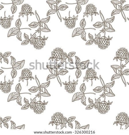 Seamless pattern with clover. Monochrome hand-drawn vector background. - stock vector