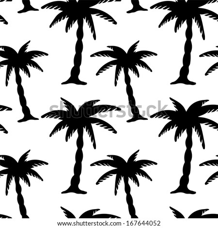 Seamless Pattern with Coconut Palm Trees. Endless Print Silhouette Texture. Ecology. Forest. Hand Drawing. Retro. Vintage Style - vector - stock vector