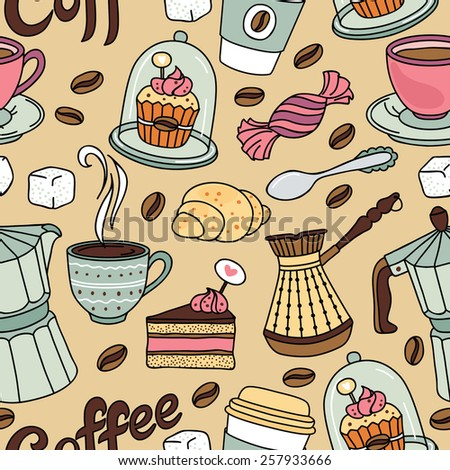 Seamless pattern with coffee and sweet. Coffee background - stock vector
