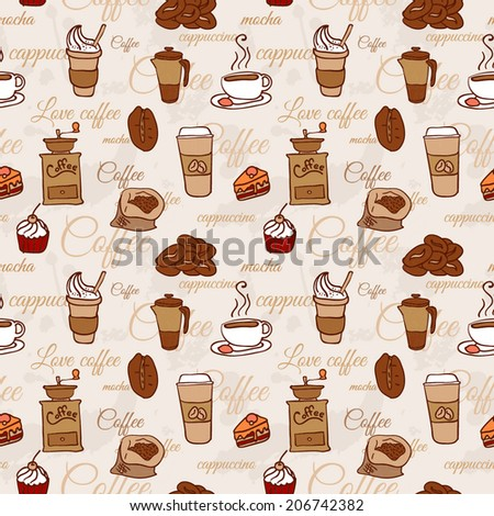 seamless pattern with coffee cakes pies latte and cappuccino - stock vector