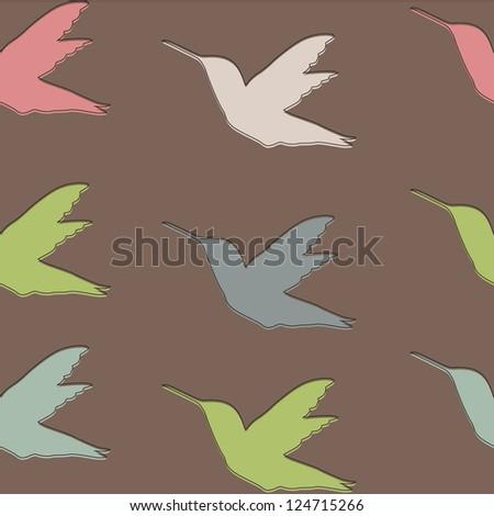 Seamless pattern with Colibri birds , Hummingbird - stock vector