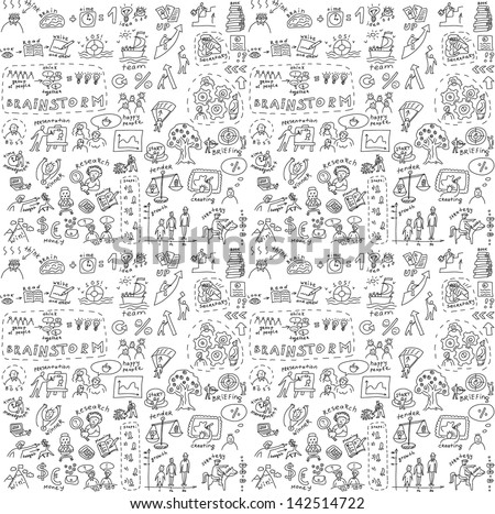 Seamless pattern with collection of icons and symballs with hand-drawn doodles people. Good design elements for funny presentation. Black and white vector illustration. - stock vector