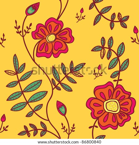Seamless pattern with color flowers on orange background. Vector illustration.