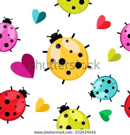 Seamless pattern with color  ladybug isolated on white. Vector EPS 10.  - stock vector