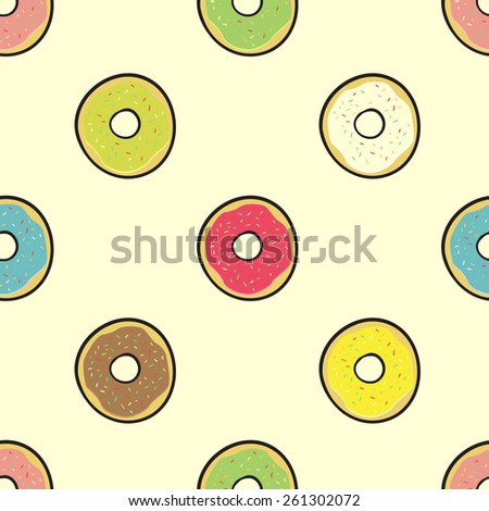 seamless pattern with colored donuts for everyone - stock vector