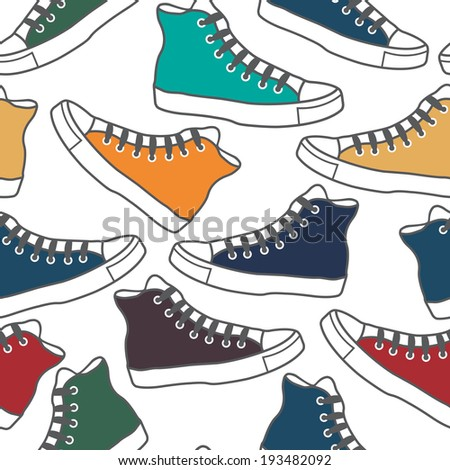 Seamless pattern with colored gumshoes