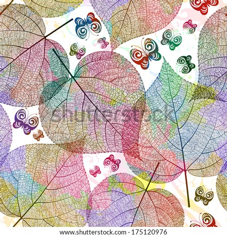 Seamless pattern with colored leaves. Vector illustration, EPS 10 - stock vector