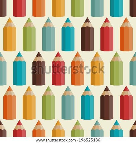 Seamless pattern with colored pencils in retro style. - stock vector