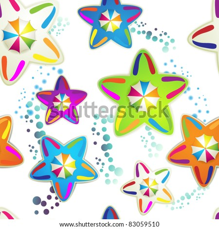 Seamless pattern with colored umbrellas and stars over white background