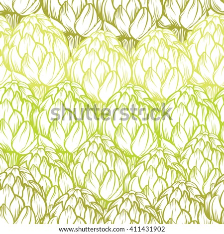 Seamless pattern with colorful artichokes on white background. Colorful artichokes on white background - stock vector