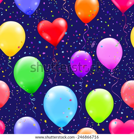 Seamless pattern with colorful balloons and confetti on the dark blue background. - stock vector