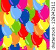 Seamless pattern with colorful balloons - vector - stock vector