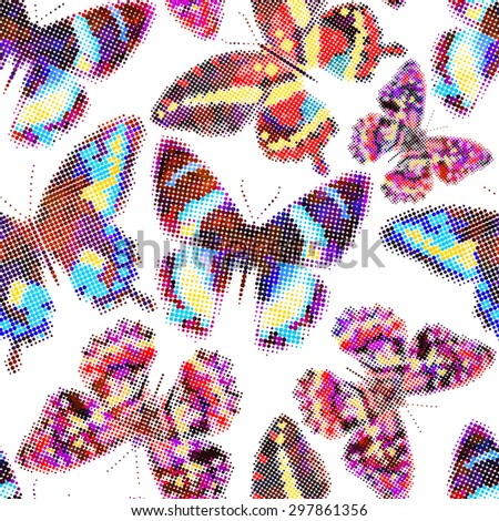 Seamless pattern with colorful butterflies. Halftone effect. Vector illustration, EPS10. - stock vector