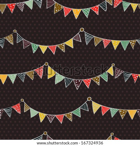 Seamless pattern with colorful childish bunting flags on polka dot background. - stock vector