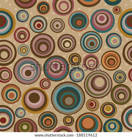 Seamless pattern with colorful circles on beige background